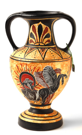 throughout: A reproduction of a Nikosthenic black figure amphora from the Hellenic period  The original was found on the  Cyprus  The copy is typical of a genre of mass produced archaeological tourist souvenirs sold throughout Greece and Cyprus  Stock Photo