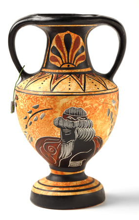 A reproduction of a Nikosthenic black figure amphora from the Hellenic period  The original was found on the  Cyprus  The copy is typical of a genre of mass produced archaeological tourist souvenirs sold throughout Greece and Cyprus  photo