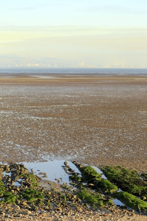 A view across the tidal flats of Swansea bay