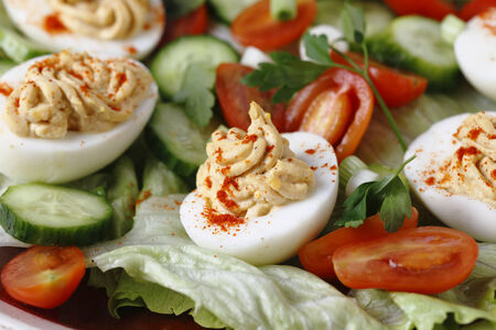 deviled eggs: Homemade deviled eggs served on a salad of minature tomatoes, lettuce, sliced cucumber and chopped green onion scallions, side view Stock Photo