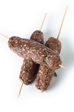 seekh: Raw Lebanese lamb kofta skewers from above
