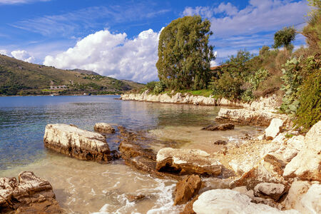 ionian island: View of a picturesque cove on the Kassiopi peninsula on Corfu, Greece Stock Photo