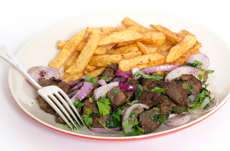 albanian: Albanian Liver, a traditional Turkish spiced lambs liver recipe popular throughout the Middle East