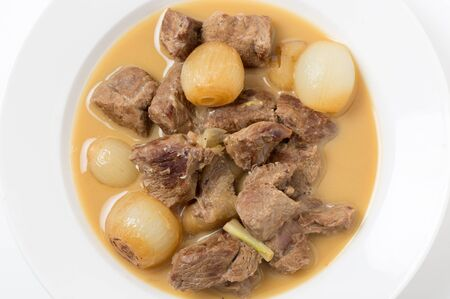 fricassee: Traditional Italian and Greek lamb fricassee with small onions, finished with an egg and lemon sauce.
