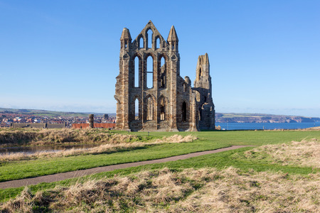 abbey ruins abbey: The ruins of Whitby Abbey in Yorkshire, UK, which provided inspiration for Bram Stokers Dracula.