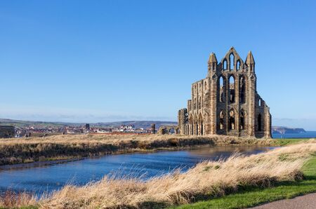 abbey: The ruins of Whitby Abbey in Yorkshire, UK, which provided inspiration for Bram Stokers Dracula.