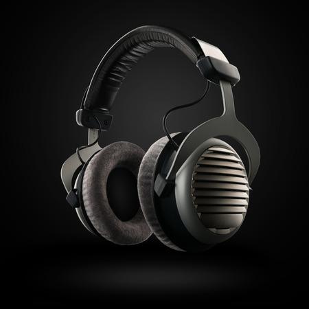 Kopfhörer auf dem schwarzen Hintergrund