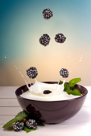 yoghurt with blackberries Stock fotó