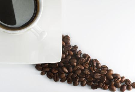 Black espresso on white cup Standard-Bild
