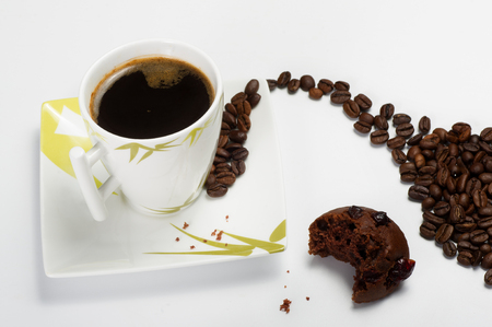 black coffee with muffin