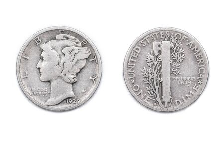 dime: An American Dime coin from 1929 Stock Photo