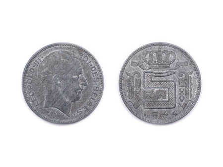minted: A Belgian five francs coin from wartime Belgium. Precious metal was scarce and expensive so the coins were made in base metal. This coin was minted in 1944 and features King Leopold the third