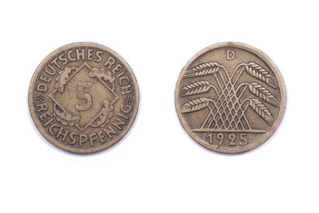 minted: A five Pfennig coin from Germany. It was minted in 1925 and features a cereal crop on the reverse side Stock Photo