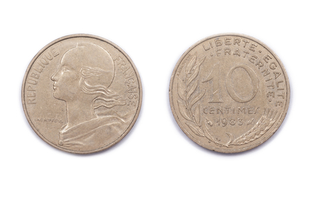 minted: A French ten Centimes coin minted in 1983. The centime was a former currency of France and was a division of the Franc. Both were phased out with the advent of the Euro Currency in 2001.