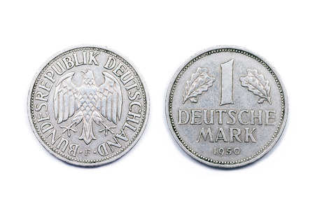 minted: One German Mark Coin minted 1950. The Mark was the official currency of Germany until 31st December 2001 when the Euro currency was adopted in Germany.