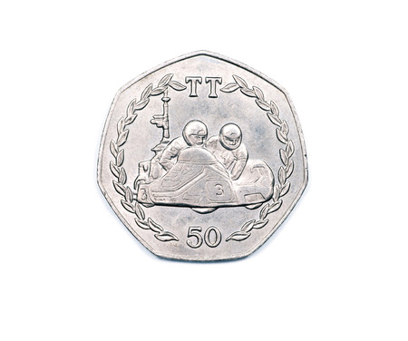 pence: An Isle of Man fifty pence coin reverse side featuring the 1984 version of the Tourist Trophy race. Stock Photo
