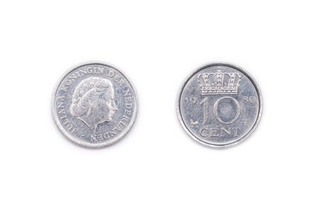 minted: A Netherlands ten cents coin minted 1980 and featuring Queen Juliana of the Netherlands.