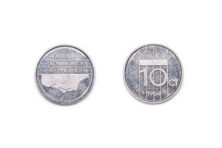 minted: A Netherlands ten cents coin minted 1984 and featuring Queen Beatix of the Netherlands. Stock Photo