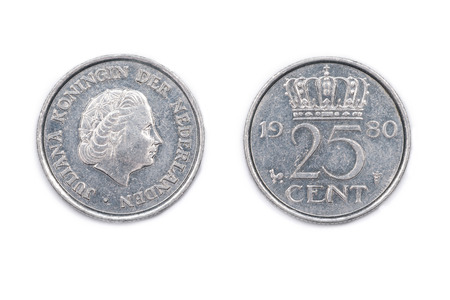 minted: A Netherlands twenty-five cents coin minted 1980 and featuring Queen Juliana of the Netherlands.