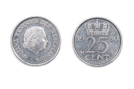 A Niederlande Fünfundzwanzig Cent Münze Geprägt 1980 Und Mit Königin