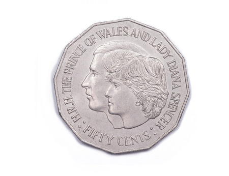 lady diana: A commemorative fifty cents coin - reverse side - from Australia to mark the engagement of Prince Charles, The Prince of Wales, to Lady Diana Spencer minted 1981