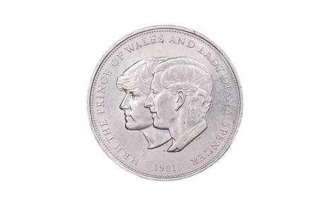 lady diana: A commemorative coin to mark tha Royal Engagement of Charles, Prince of Wales and Lady Diana Spencer.