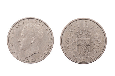 minted: Five Peseta coin from Spain minted in 1982 and featuring King Juan Carlos of Spain.
