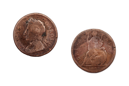 britannia: A Charles the second penny dated 1675 featuring Charles on the face and Britannia on the reverse side.