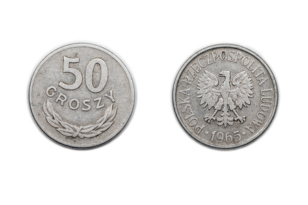 A fifty Groszy coin from Poland minted in 1965.