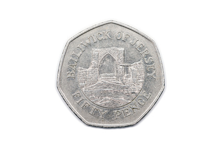 bailiwick: A fifty pence coin from the Bailiwick of Jersey showing the reverse side featuring a stone archway