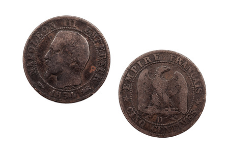 A five Centimes coin from France featuring the French Emperor Napoleon the third and minted in 1854.