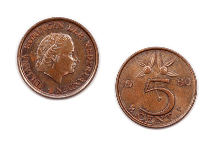 juliana: A five cents coin from the Netherlands minted in 1980 and featuring Queen Juliana.