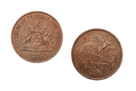 face side: A five cent coin from Trinidad and Tobago featuring a crest on the face side and a bird on the reverse.
