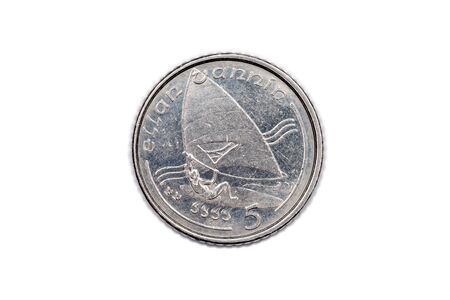 minted: Five pence coin from the Isle of Man minted 1993 showing the reverse side isolated onto a white background.