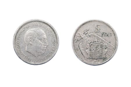 numismatics: Five Peseta coin minted in 1957 and featuring General Franco of Spain. Stock Photo