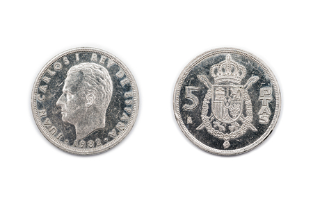 minted: Five Peseta coin from Spain minted 1982 and featuring King Juan Carlos of Spain