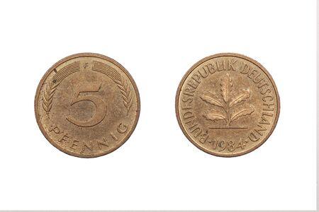 minted: Five Pfennig coin from Germany minted 1984 and isolated onto a white background.