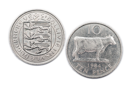 minted: Ten pence coin from the Bailiwick of Guernsey minted 1984.