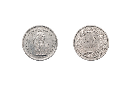 minted: Half-franc coin from Switerland minted in 1969 and isolated on a white background.