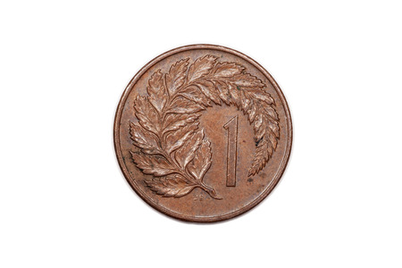 minted: One cent coin from New Zealand reverse side and minted 1970 featuring Ferns.