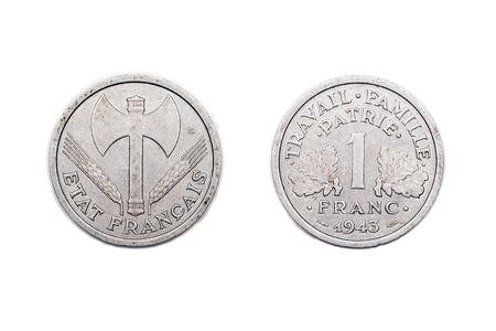 minted: One franc coin from wartime France minted in 1943 and made from base metals.