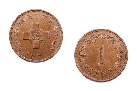 minted: One cent coin from Malta minted 1977 and featuring the Maltese cross.