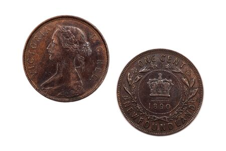 minted: One cent coin from Newfoundland minted 1890 and featuring a young Queen Victoria.