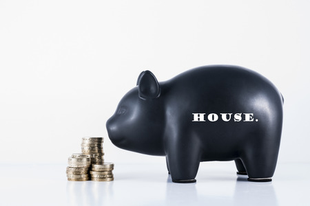 Black piggy bank and some coins with the motif - House photo