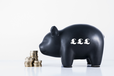 Black piggy bank and some coins with the motif - £££ photo