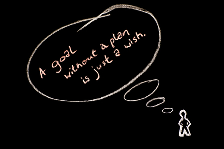 Chalkboard and chalk slogan - A goal without a plan is just a wish  with speechthought bubbles and figure.