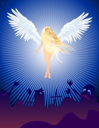Angel with outstretched wings rise up to heaven from the demons, evil spirits on Halloween! Main elements layered separately: background, demons, wings, angel. Illustration