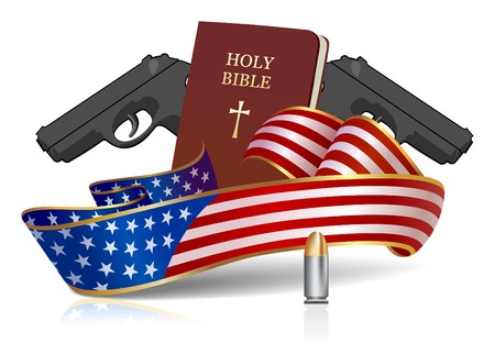 That's what made America Great? God, guns and Country! All objects are layered separately.
