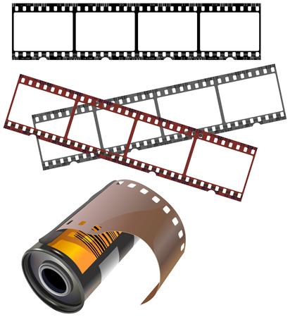 filmnegativ: Fotorealistische Vektorbild set von negativen Streifen und isoliert Filmdose. Jeder Frame wird nummeriert, genau wie ein echtes St�ck Film. Negative Filme und Nummerierung geschichtet separat.