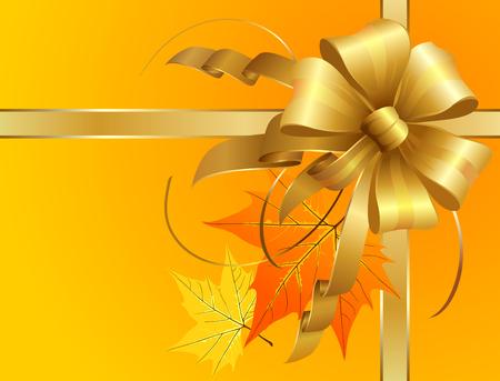 Arc de Thanksgiving de rubans dorés avec des feuilles d'automne. Les objets principaux comme d'habitude sont superposés séparément et jpeg haute résolution inclus.